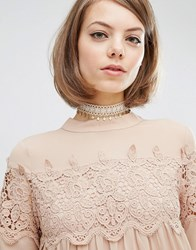 Rock N Rose Charlotte Lace Drop Choker Gold Cream