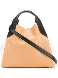 Lanvin Colour Block Tote Nude And Neutrals
