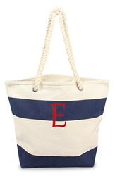 Cathy's Concepts Personalized Stripe Canvas Tote Blue Navy E