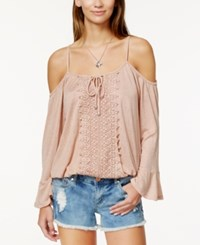 American Rag Off The Shoulder Crochet Trim Bell Sleeve Top Only At Macy's