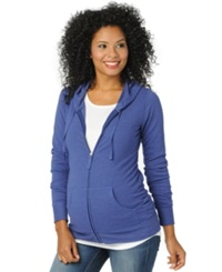 Motherhood Maternity French Terry Zip Front Hoodie Cobalt