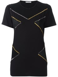 Versace Collection Studded Contrast Panel T Shirt Black
