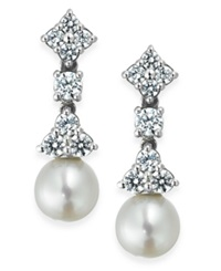Arabella Bridal Cultured Freshwater Pearl 7Mm And Swarovski Zirconia 1 5 8 Ct. T.W. Drop Earrings In Sterling Silver
