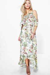Boohoo Floral Print Ruffle Neck Maxi Dress Ivory