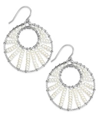 Macy's Cultured Freshwater Pearl Circle Drop Earrings In Sterling Silver 3Mm