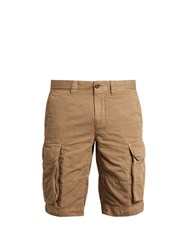 Incotex Cargo Pocket Cotton And Linen Blend Shorts Tan