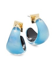 Alexis Bittar Lucite And 10K Gold Plated Huggie Earrings Blue Opal