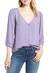 Hinge Print V Neck Blouse Purple Daybreak