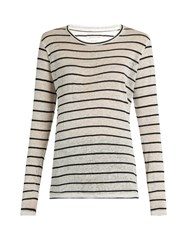 Etoile Isabel Marant Aaron Long Sleeved Linen And Cotton Blend T Shirt Black White