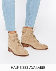 Asos Aliza Suede Lace Up Ankle Boots Sand Beige