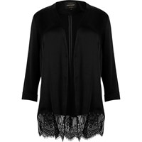 River Island Womens Plus Black Lace Hem Duster Coat