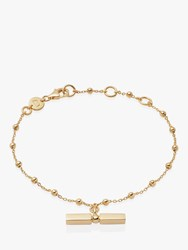 Daisy London Stacked Bead And T Bar Chain Bracelet Gold