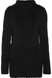 Maison Martin Margiela Mm6 Open Knit Cotton Turtleneck Sweater Black