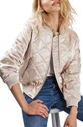 Topshop Petite Women's Shiny Quilted Bomber Jacket