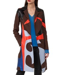 Akris Patchwork Linen And Leather Coat Trench Coat Multi