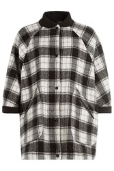 M Missoni Wool Plaid Short Sleeve Cape Multicolor