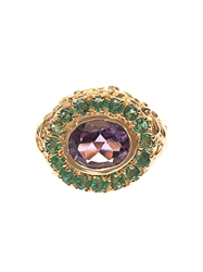 Jade Jagger Amethyst Emerald And Gold Plated Ring