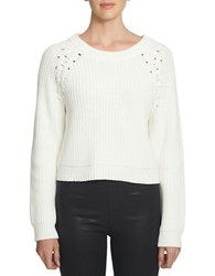 1.State Crewneck Lace Up Shoulder Sweater White
