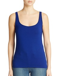 Lord And Taylor Iconic Fit Slimming Scoopneck Tank Atlantic Blue