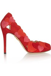 Charlotte Olympia Love Me Heart Appliqued Suede Pumps Red