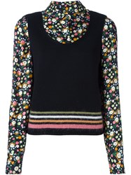 Tory Burch Floral Shirt And Striped Knit Top Black