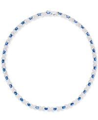 Macy's Sapphire 17 1 2 Ct. T.W. And Diamond Accent All Around Collar Necklace In Sterling Silver Blue