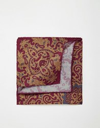 Noose And Monkey Italian Silk Pocket Square In Paisley Red