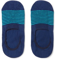 Pantherella Striped Cotton Blend No Show Socks Blue
