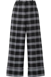 Michael Kors Collection Cropped Checked Wool Blend Straight Leg Pants Dark Gray