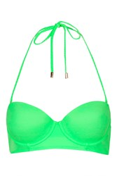 Topshop Braided Long Line Bikini Top Green