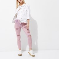 River Island Petite Pink Acid Wash Molly Ripped Jeggings