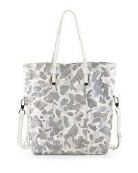 Halston Heritage North South Printed Leather Tote Bag White Multi