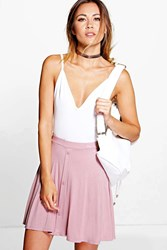 Boohoo Button Front Jersey Skater Skirt Rose