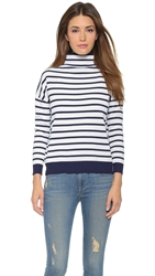 Whistles Striped Funnel Neck Sweater