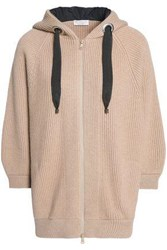 Brunello Cucinelli Bead Embellished Ribbed Cashmere Hoodie Sand