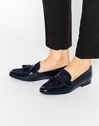 Asos Monty Leather Tassle Loafers Navy