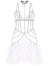 Alessandra Rich Crystal Embellished Body Jewellery White