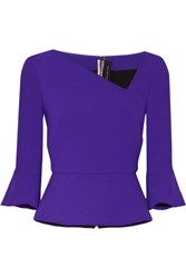 Roland Mouret Asymmetric Wool Crepe Peplum Top Purple