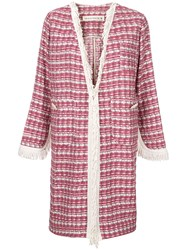 Shirtaporter Plaid Fringed Coat Pink And Purple