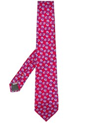 Canali Floral Jacquard Tie Red