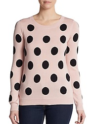 Saks Fifth Avenue Red Polka Dot Roundneck Sweater Princess Blush