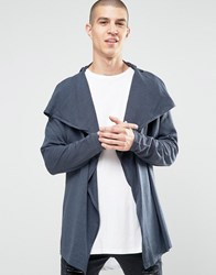 Asos Cardigan With Wrap Body And Cowl Neck Petrol Blue