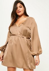 Missguided Plus Size Nude Satin Belted Elasticated Sleeve Dress Champagne