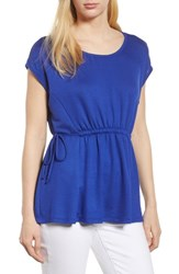 Bobeau Cinched Waist French Terry Top Royal Blue