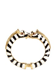 Kenneth Jay Lane Enamel Double Zebra Gold Plated Cuff Multi Colour