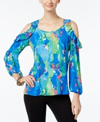 Ny Collection Ruffled Cold Shoulder Top Blue Multi