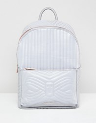 Ted Baker Quilted Bow Reflective Backpack Silver