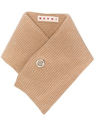 Marni Ribbed Knit Buttoned Scarf Neutrals