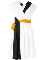 Paule Ka Belted Wrap Dress White