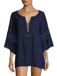 L Space Breakaway Lace Coverup Midnight Blue